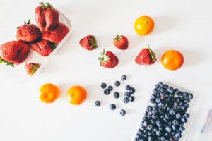 fruit assortment on white background