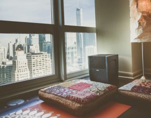 Spa like environment with yoga mat and Venta Airwasher