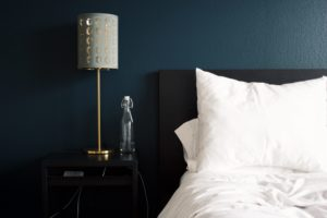 Energy efficient bedroom with bed and nightstand