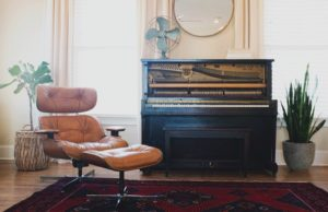 Energy efficient living room with piano