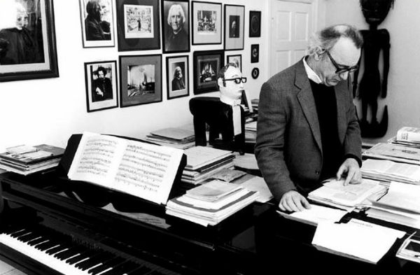 Alfred Brendel in his piano studio.