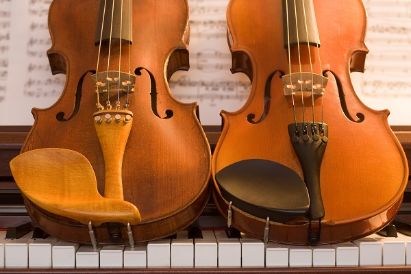 Wooden instruments sitting on keys