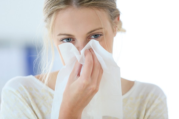 Sick woman due to using dirty humidifiers in dry winter air