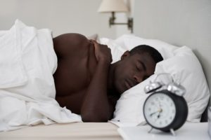 Man tries to sleep with dry air during winter months