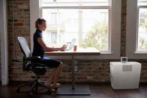Woman works at desk near Venta Airwasher improving indoor air quality as part of corporate wellness program