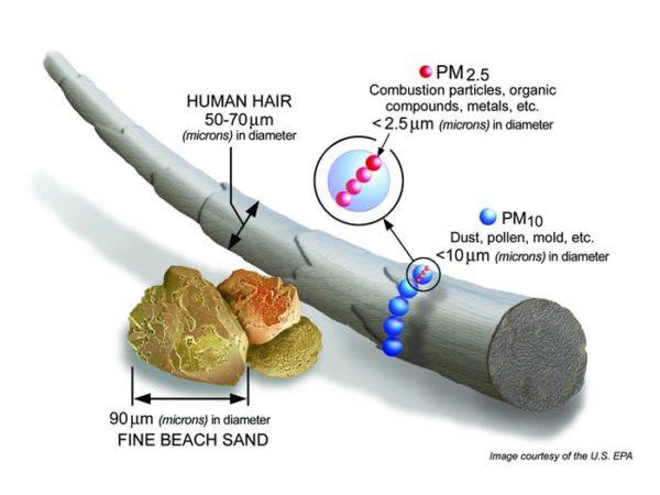 Microns size describe in EPA diagram
